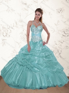 The Super Hot Halter Top Beading and Ruffles Dresses for Quince in Aqua Blue