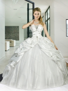 2015 New Arrival and Detachable White Sweet 15 Quinceanera Dress with Appliques and Pick Ups