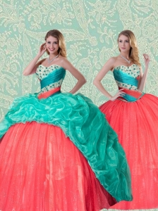 Beautiful Detachable Sweet 15 Sweetheart Quinceanera Dress With Beading and Ruffles