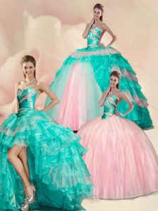 New Style Beading and Ruffles Multi color Sweet 15 Quinceanera Dress
