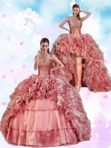 2015 Detachable Beading and Ruffles Pink Dress For Quinceanera