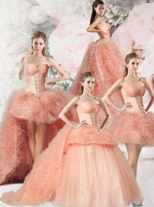 2015 Edgy Beading and Ruffles Pink Quinceanera Dress