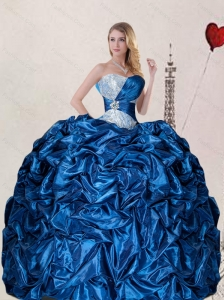 2015 Unique Sweetheart Blue Quinceanera Dress with Pick up