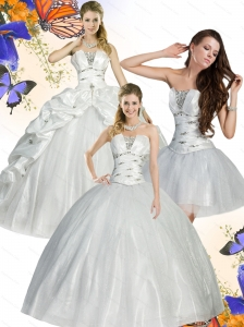 2015 Unique White Quinceanera Dress with Beading and Ruffles