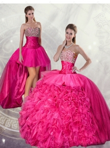 2015 Wonderful Ball Gown Hot Pink Quinceanera Dresses with Beading and Ruffles