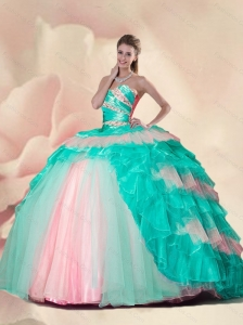 Detachable Beading and Ruffles Quinceanera Gowns in Mult Color For 2015