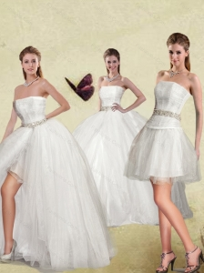 Detachable White Strapless Ball Gown Sweet Sixteen Dresses
