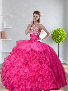 New Arrival Ball Gown Hot Pink Quinceanera Dresses with Beading and Ruffles for 2015