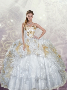 Unique White Quinceanera Dress with Appliques and Ruffles For 2015