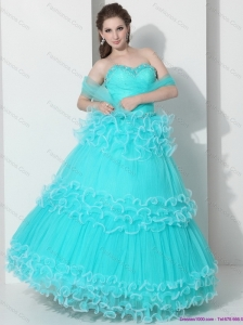 2015 Perfect Sweetheart Quinceanera Dresses with Ruffled Layers and Beading