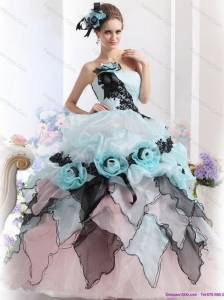 Ruffles Multi Color 2015 Quinceanera Dresses with Hand Made Flowers