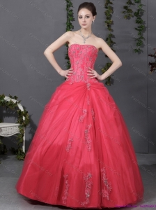 New Arrival Coral Red Strapless Sweet 16 Dress with Ruching and Appliques