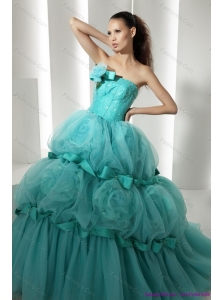 New Arrival Floor Length 2015 Quinceanera Dresses with Hand Made Flowers and Beading