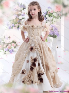 Champagne Spaghetti Straps Little Girl Pageant Dresses with Hand Made Flowers and Ruffles