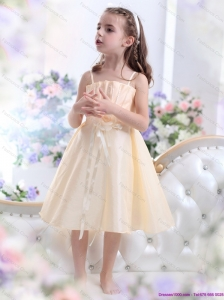 Champagne Spaghetti Straps Little Girl Pageant Dresses with Waistband and Hand Made Flower