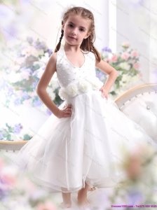 Cute Halter Top White Mini Length Little Girl Pageant Dress with Hand Made Flower