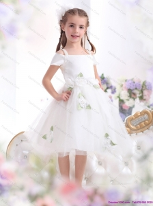 Gorgeous Spaghetti Straps White 2015 Little Girl Pageant Dress with Hand Made Flowers