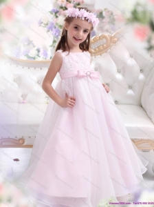 Scoop Appliques and Bowknot Pageant Dresses for Girl in Baby Pink