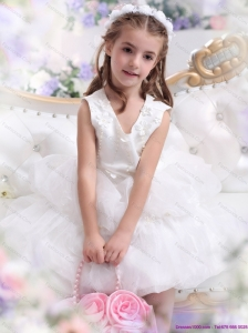 Beautiful White Appliques Scoop Little Girl Pageant Dress for 2015
