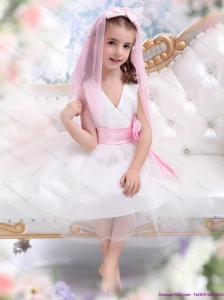 Beautiful White Little Girl Pageant Dress with Baby Pink Waistband and Hand Made