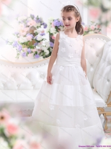 Most Popular White Scoop Flower Girl Dress with Appliques