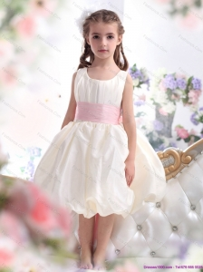 Perfect White Scoop 2015 Little Girl Pageant Dress with Light Pink Sash