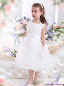 Scoop Tea Length White 2015 Little Girl Pageant Dress with Sash