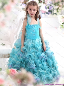 Straps Appliques and Ruffled Layers Pageant Dresses for Kids in Aque Blue