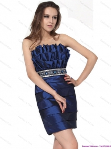 2015 Popular Strapless Prom Dresses with Ruching and Beading