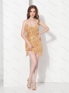 Gold Sequins and Mini Length Macrame Sexy Prom Dresses with Spaghetti Straps