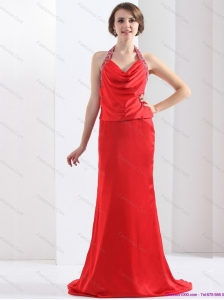 Popular Backless Halter Top Prom Dress in Coral Red