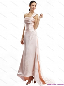 Popular Champagne One Shoulder Ruching Prom Dresses with Brush Train
