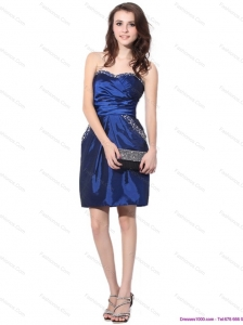Popular Navy Blue Sweetheart Dama Dresses with Ruching and Beading