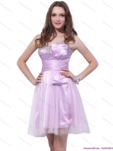 Popular Strapless Mini Length 2015 Prom Dresses with Ruffles and Beading