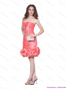 Popular Strapless Watermelon Red Prom Dress with Beadings and Ruching