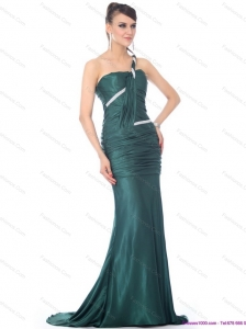 2015 New Style One Shoulde Prom Dress with Ruching and Brush Train