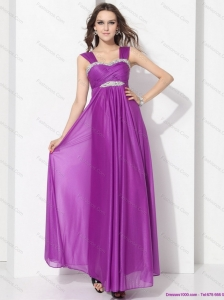 Elegant Empire Floor Length Prom Dress with Ruching and Beading