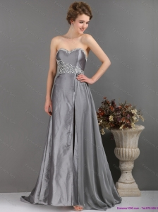 Modest Brush Train Sliver Prom Dresses with Appliques and High Slip