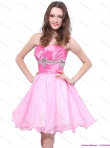 Modest Rose Pink 2015 Mini Length Prom Dresses with Beading and Ruching