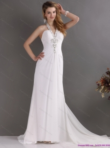 Popular 2015 Halter Top White Prom Dress with Ruching and Beading