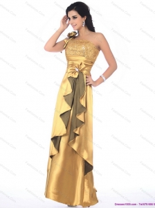 Popular One Shoulder Gold Prom Dress with Hand Made Flowers and Ruching