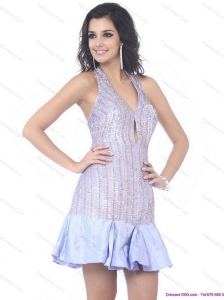 Popular Sequined Halter Top Mini Length Prom Dress for 2015