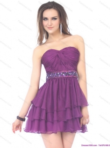 2015 Beautiful Sweetheart Mini Length Christmas Party Dress with Sequins and Ruching