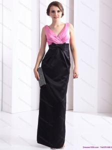 2015 Elegnat V Neck Long Prom Dress with Bowknot and Ruching