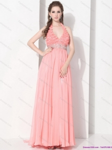 2015 Exclusive Halter Top Prom Dress with Beading and Ruching