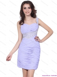 2015 Exclusive Lilac Mini Length Christmas Party Dress with Rhinestones and Ruching