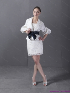 2015 Lovely Strapless White Christmas Party Dress with Lace and Belt