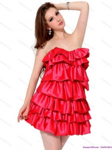 2015 Red Mini Length Christmas Party Dresses with Ruffled Layers