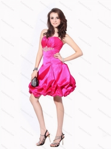 2015 Ruching Strapless Christmas Party Dresses with Pick Ups and Appliques