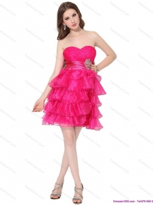 2015 Sweetheart Christmas Party Dresses with Ruffled Layers and Beading